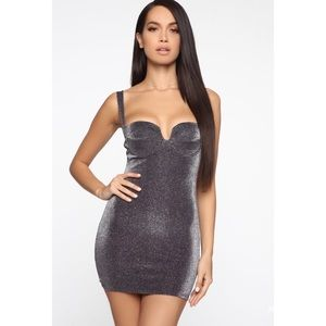 Fashion Nova Purple/Combo Metallic Mini Dress NWT